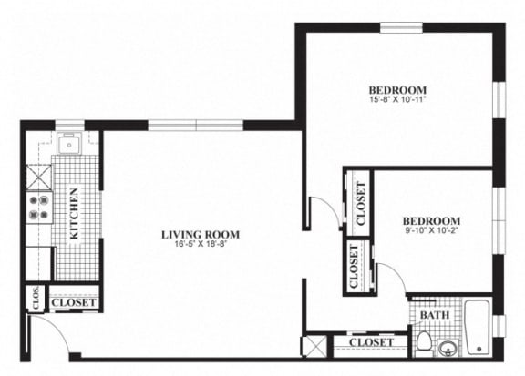 Floor Plan  Two bedroom one bathroom B3 floorplan at The Barrington Apartments in Silver Spring, MD