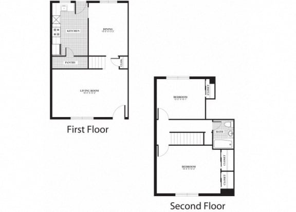 Floor Plan  Two bedroom one bathroom B4 and B5 floorplan at The Barrington Apartments in Silver Spring, MD