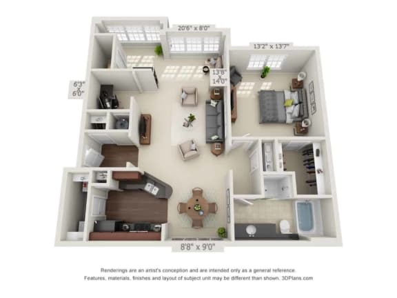 greystone falls one bedroom with sunroom floor plan