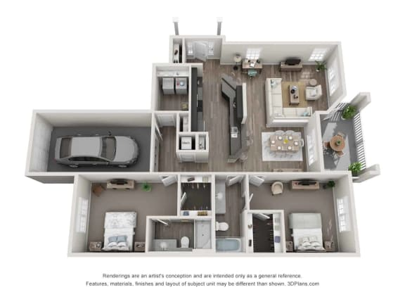 greystone falls two bedroom direct entry garage floor plan