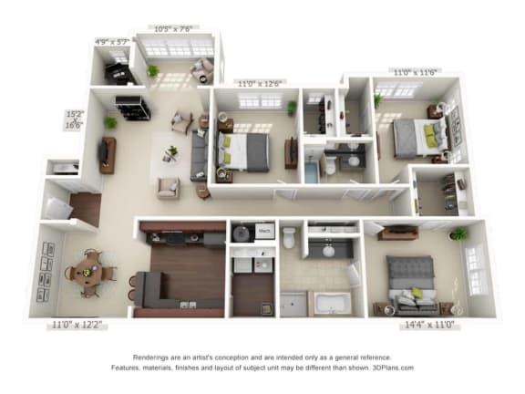 greystone falls three bedroom with sunroom floor plan