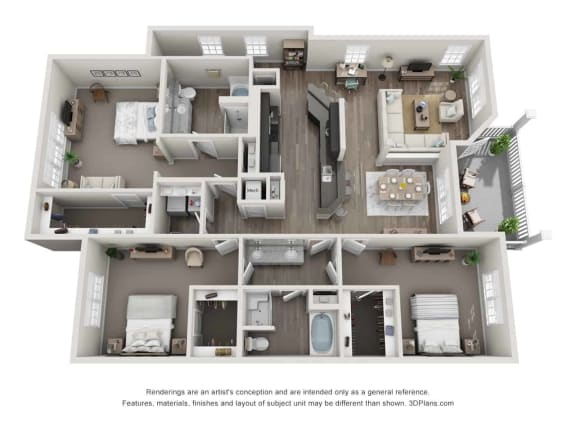 greystone falls 3 bedroom with garage floor plan