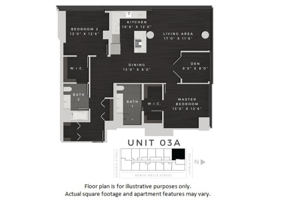 Floor Plan  Unit 03A Floor Plan at 640 North Wells, Illinois, 60654