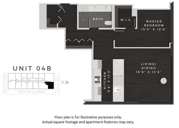 Floor Plan  Unit 04B Floor Plan at 640 North Wells, Chicago, IL