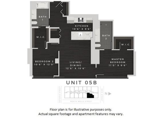 Floor Plan  Unit 05B Floor Plan at 640 North Wells, Illinois, 60654
