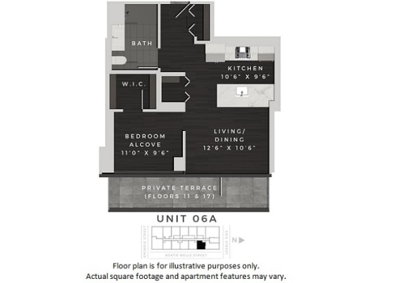 Floor Plan  Unit 06A Floor Plan at 640 North Wells, Chicago, 60654