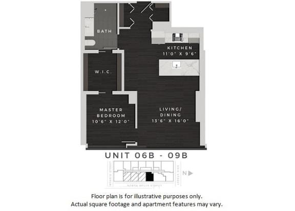 Floor Plan  Unit 06b-09b Floor Plan at 640 North Wells, Chicago, Illinois