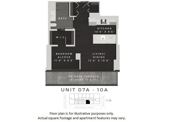 Floor Plan  Unit 07A-10A Floor Plan at 640 North Wells, Chicago, IL