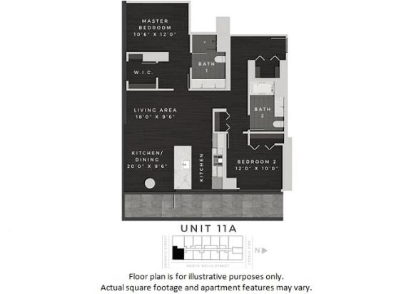Floor Plan  Unit 11A Floor Plan at 640 North Wells, Illinois, 60654