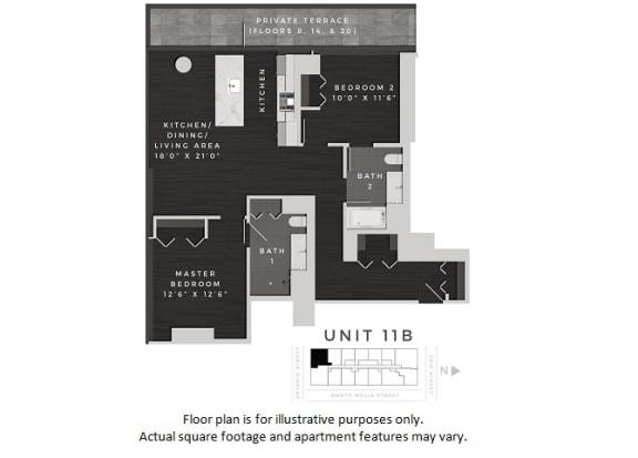 Floor Plan  Unit 11B Floor Plan at 640 North Wells, Chicago, 60654