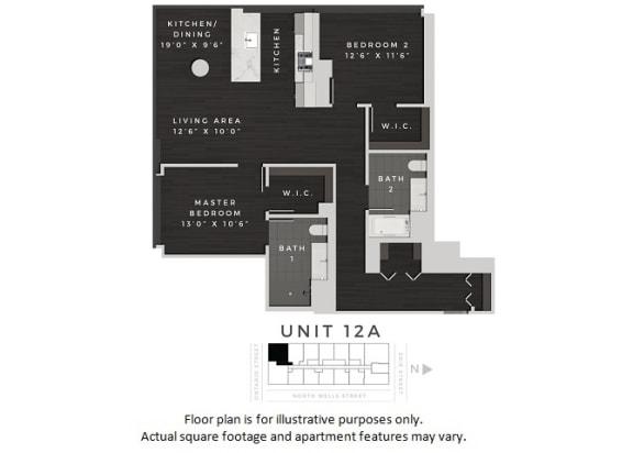 Floor Plan  Unit 12A Floor Plan at 640 North Wells, Chicago, Illinois