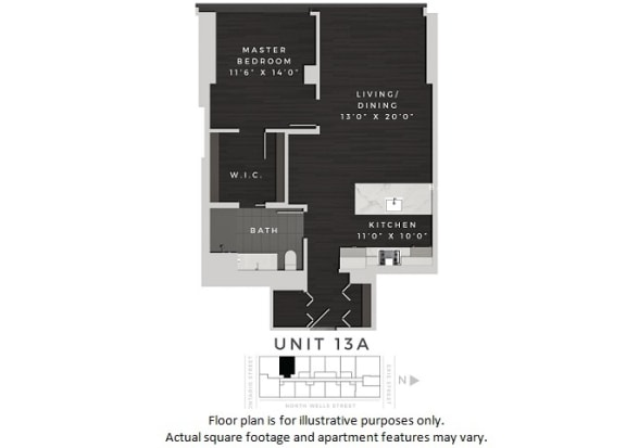 Floor Plan  Unit 13A Floor Plan at 640 North Wells, Illinois, 60654