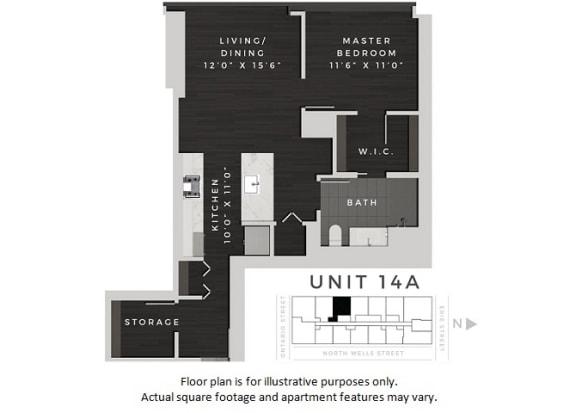 Floor Plan  Unit 14A Floor Plan at 640 North Wells, Chicago, Illinois