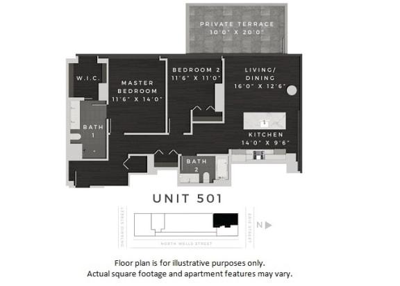Floor Plan  Unit 501 Floor Plan at 640 North Wells, Chicago, 60654