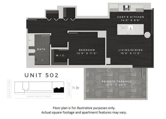 Floor Plan  Unit 502 Floor Plan at 640 North Wells, Chicago, IL