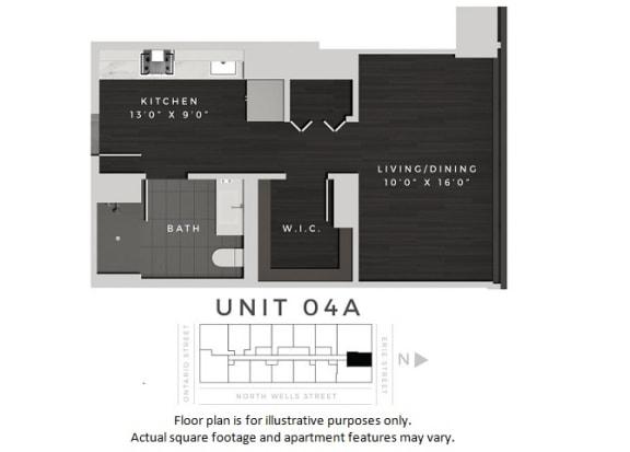 Floor Plan  Unit 04A Floor Plan at 640 North Wells, Chicago, IL