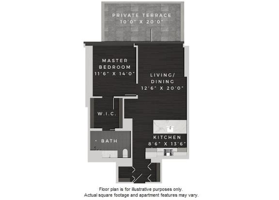 Floor Plan  A7 1 Bedroom 1 Bath Floor Plan at 640 North Wells, Chicago, IL
