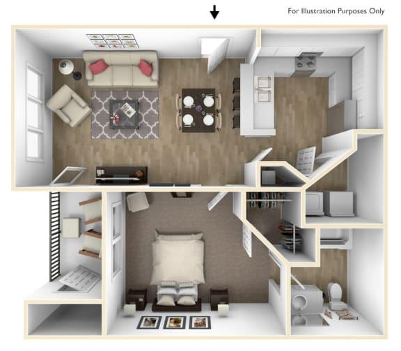 Floor Plan  1 Bedroom 1 Bath 687 sqft (A1r)