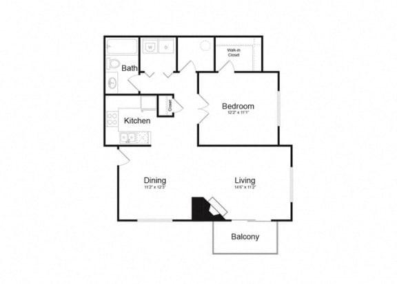 Floor Plan  C One Bed And One Bath Floorplan at Alvista Trailside Apartments, Colorado, 80110