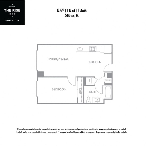 Floor Plan  The Rise Hayes Valley Bay 1x1
