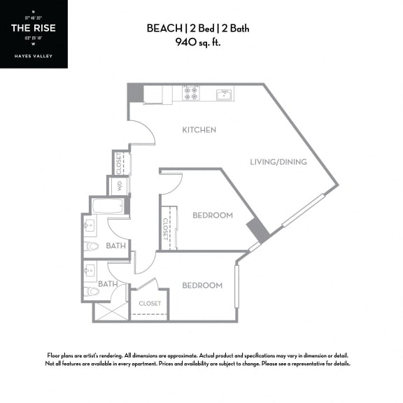 Floor Plan  The Rise Hayes Valley|Beach|2x2