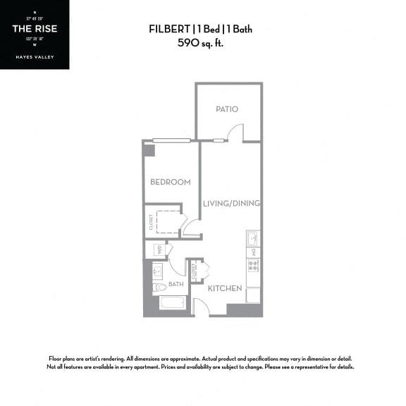 Floor Plan  The Rise Hayes Valley Filbert 1x1
