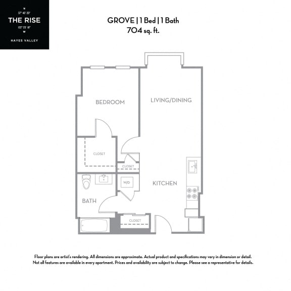 Floor Plan  The Rise Hayes Valley|Grove|1x1