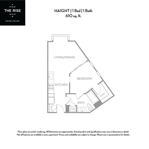 Floor Plan  The Rise Hayes Valley Haight 1x1