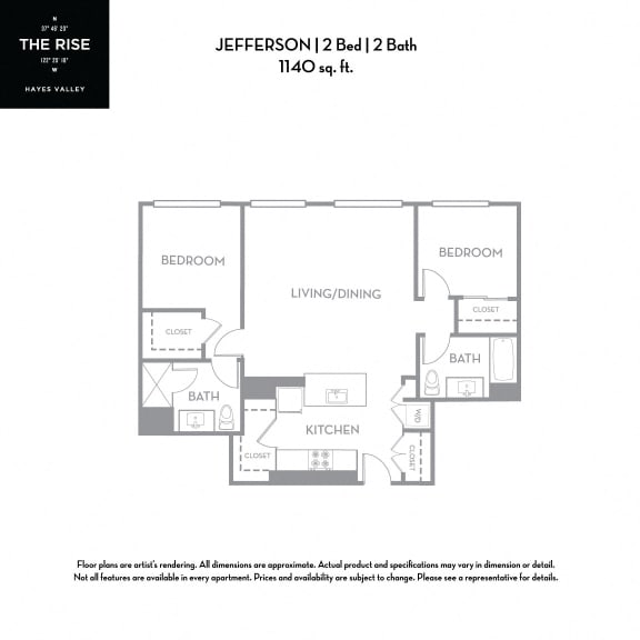 Floor Plan  The Rise Hayes Valley|Jefferson|2x2