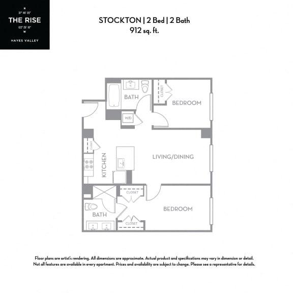 Floor Plan  The Rise Hayes Valley Stockton 2x2
