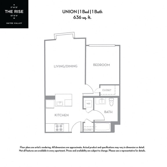 Floor Plan  The Rise Hayes Valley|Union|1x1