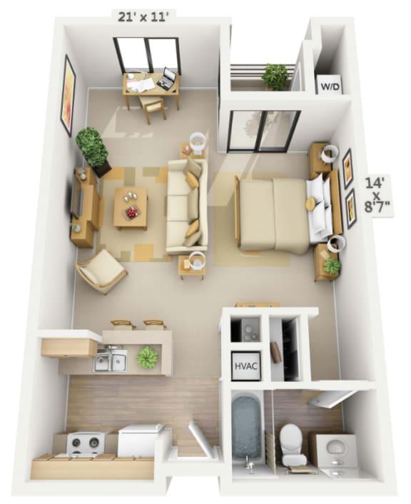 Marina Studio Floor Plan at Pine at 6th, Long Beach, CA