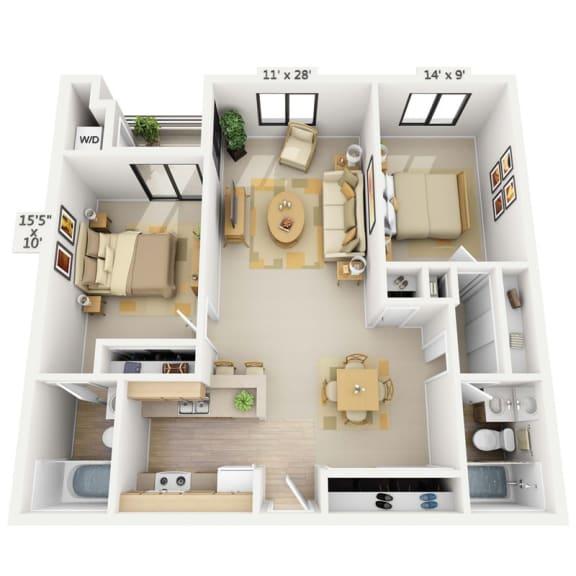 Shoreline 2x2 Bedroom at Pine at 6th, Long Beach, California