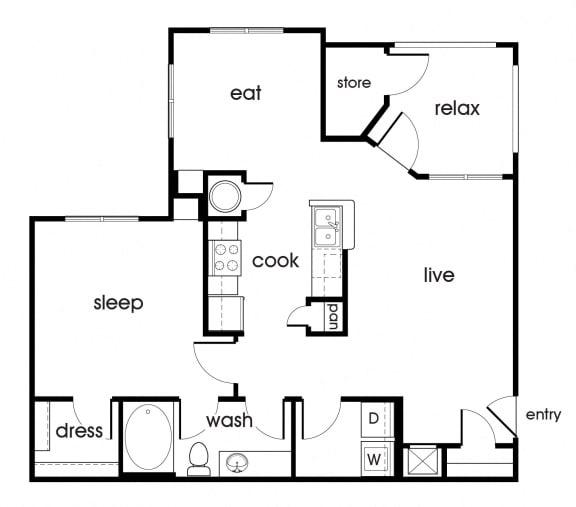 Floor Plan  A1 floorplan at Magnolia Pointe Apartments in Durham, NC