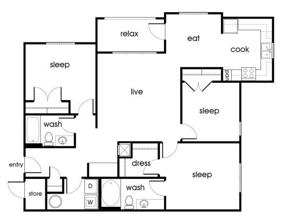 Floor Plan  C1 floorplan at Magnolia Pointe Apartments in Durham, NC