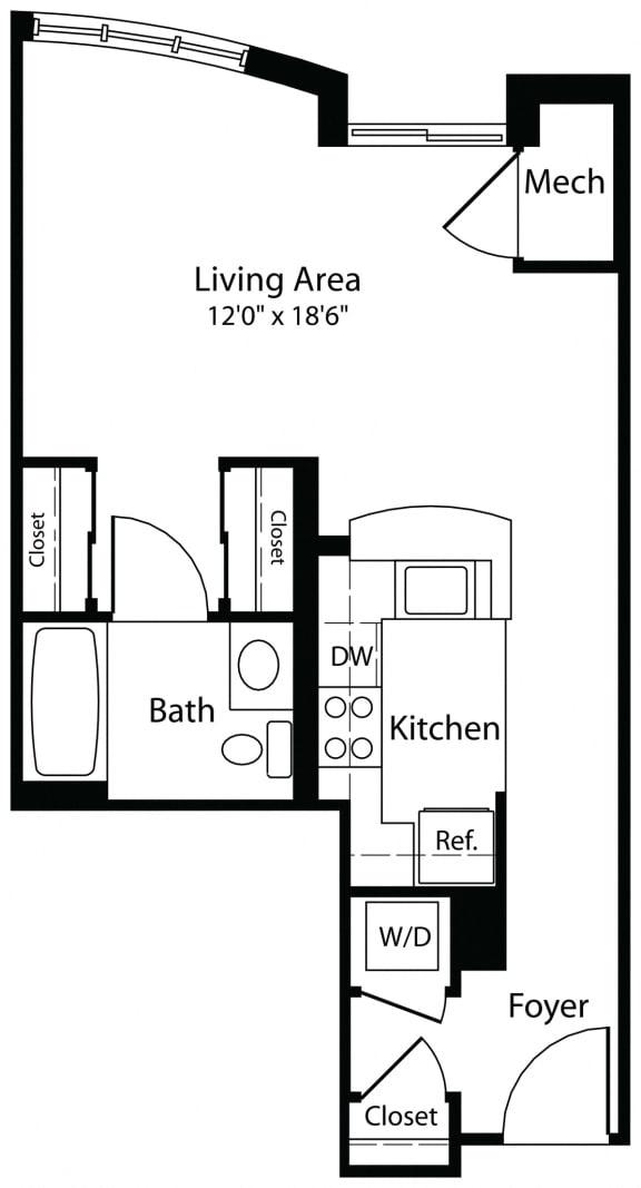 0x1a studio floor plan at Aura Pentagon City apartment in Arlington VA