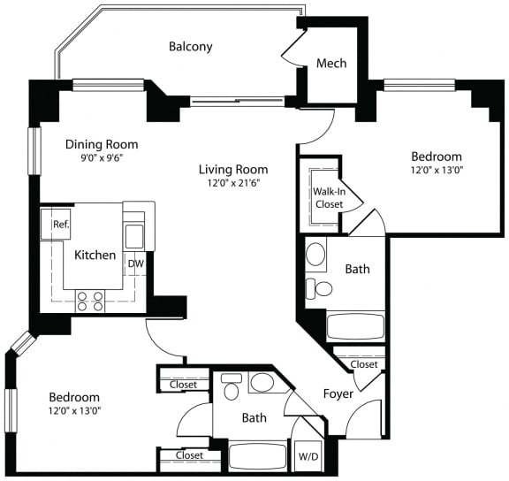 2x2a two bedroom two bathroom floor plan at Aura Pentagon City apartment in Arlington VA
