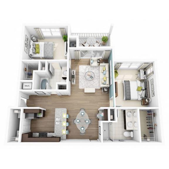 Floor Plan  2 Bed 2 Bath ELATE Floor Plan at  Altis Lakeline, 12700 Ridgeline Blvd