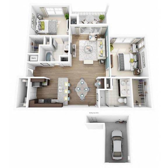 Floor Plan  2 Bed 2 Bath ELATE W/GARAGE Floor Plan at Altis Lakeline, Cedar Park, Texas
