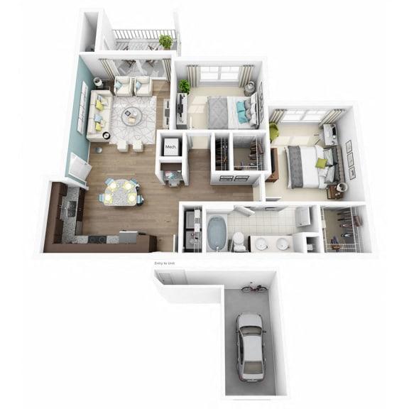 Floor Plan  2 Bed 1 Bath ENCHANT W/GARAGE Floor Plan at Altis Lakeline, Cedar Park, 78613