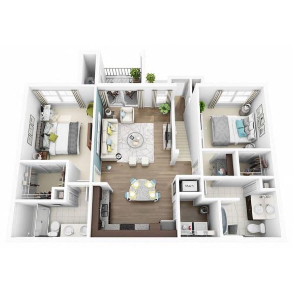 Floor Plan  2 Bed 2 Bath EUPHORIA Floor Plan at Altis Lakeline, Cedar Park, 78613