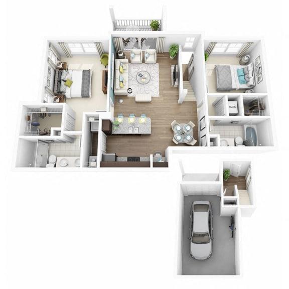 Floor Plan  2 Bed 2 Bath EXCITE W/GARAGE Floor Plan at Altis Lakeline, Texas, 78613