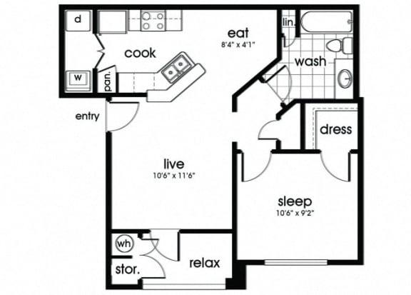 Floor Plan  A1 Floorplan for Parkway Senior Apartments in Pasadena TX