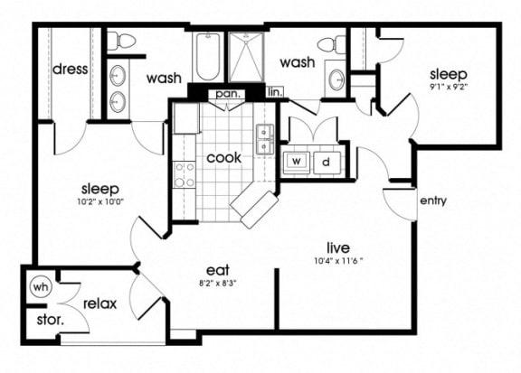 Floor Plan  B1 Floorplan for Parkway Senior Apartments in Pasadena TX