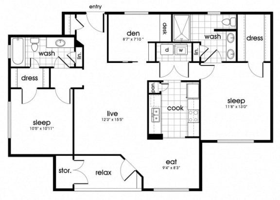 Floor Plan  B2 Floorplan for Parkway Senior Apartments in Pasadena TX