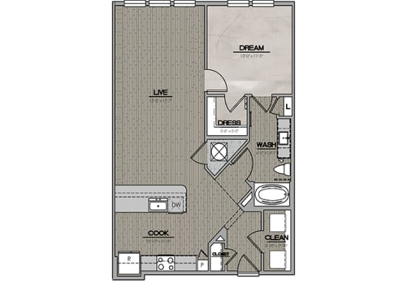 2D One Bedroom|One Bath 909 sf at The Westhouse, Fort Worth, TX  76244