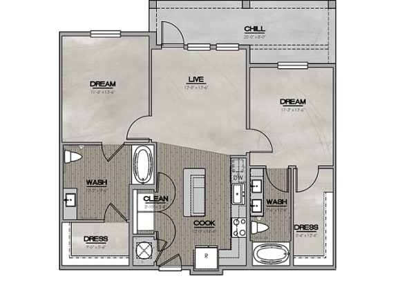2D Two Bedroom|Two Bath 1033-1151 sf at The Westhouse, Fort Worth, TX  76244
