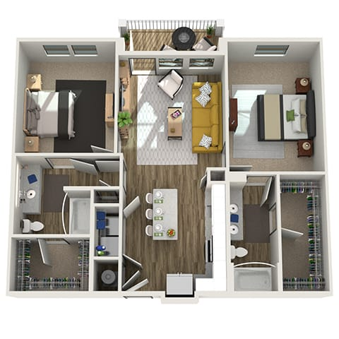 3D Two Bedroom|Two Bath 1098 sf at The Westhouse, Fort Worth, TX  76244
