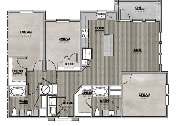 2D Three Bedroom|Two Bath 1378 sf at The Westhouse, Fort Worth, TX  76244