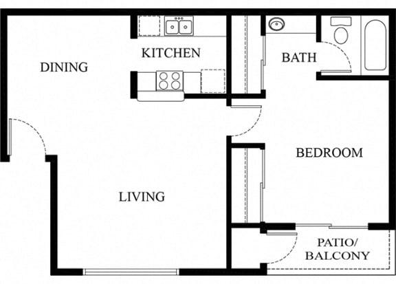 1 bed 1 bath floorplan 2D, at Patterson Place, Santa Barbara, 93111